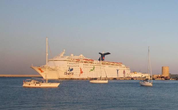 Ibero Cruises Ship at Sunset, Rhodes, Greece