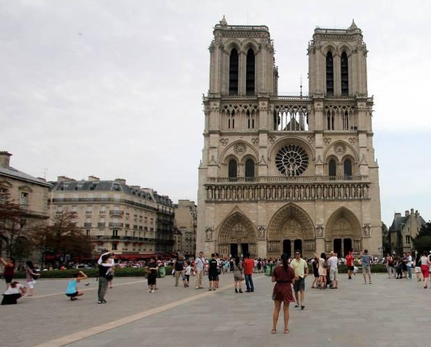 Outside the Notre-Dame de Paris