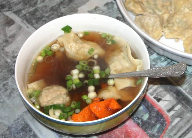 Wonton Soup with Spicy Pumpkin Chips