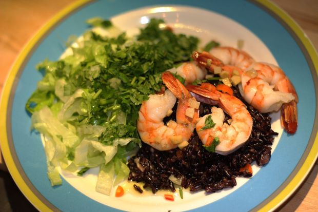 Black Rice Risotto with Ginger Glazed Shrimps and Green Salad