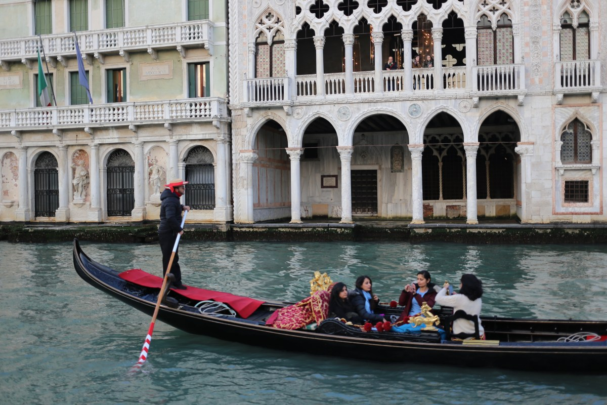 Gondola ride through the canals of Venice