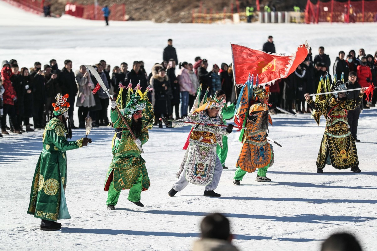 "Villagers in Benxi, Liaoning province, are performing the national intangible cultural heritage project ""Wu She Huo""."