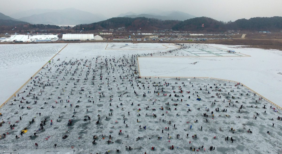This file photo shows the 2020 Inje Icefish Festival in Inje, 165 kilometers northeast of Seoul, on Jan. 18, 2020. The festival, which opened on the day, will continue until Feb. 2.