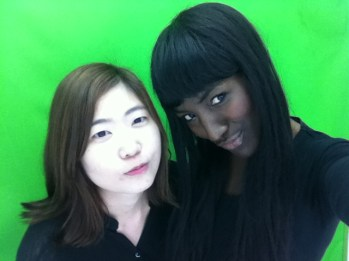 Green screen ready for our snaps (Japanese photo booth)