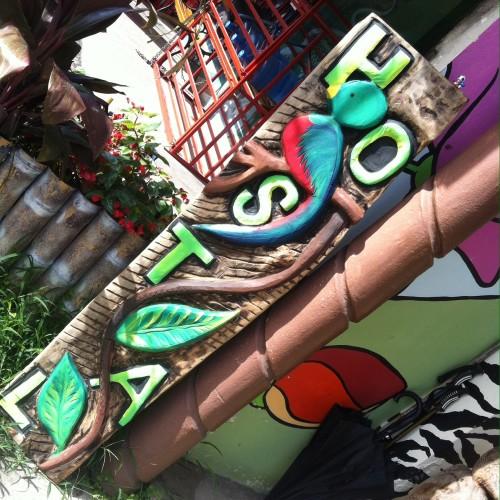 Toad sitzt auf dem Eingangsschild vom Hostel Arte.