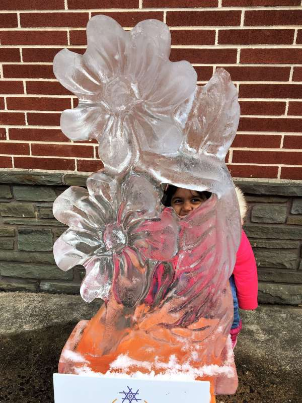 fire and ice festival in lititz, pa flower ice sculpture