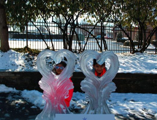 Fire and Ice Festival in Lititz, Pa heart ice sculpture
