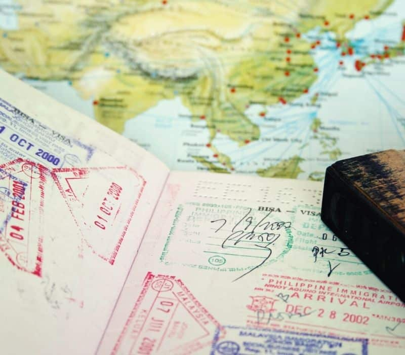 Map and passport with stamps