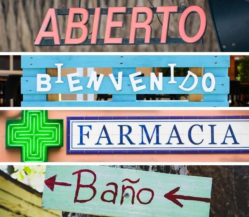 Spanish words on signs in Mexico