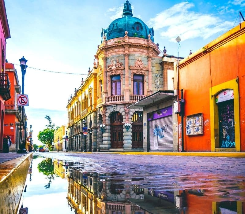 Colorful buildings in downtown Oaxaca City, Mexico