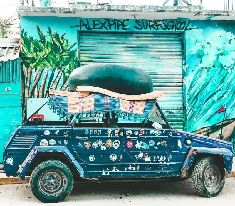 vintage VW Thing car in Puerto Escondido Oacaxa Mexico - Traveling to Oaxaca