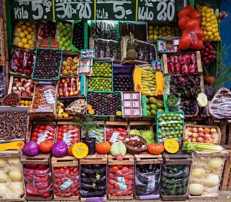 Mexico mercado market with fruits and veggies