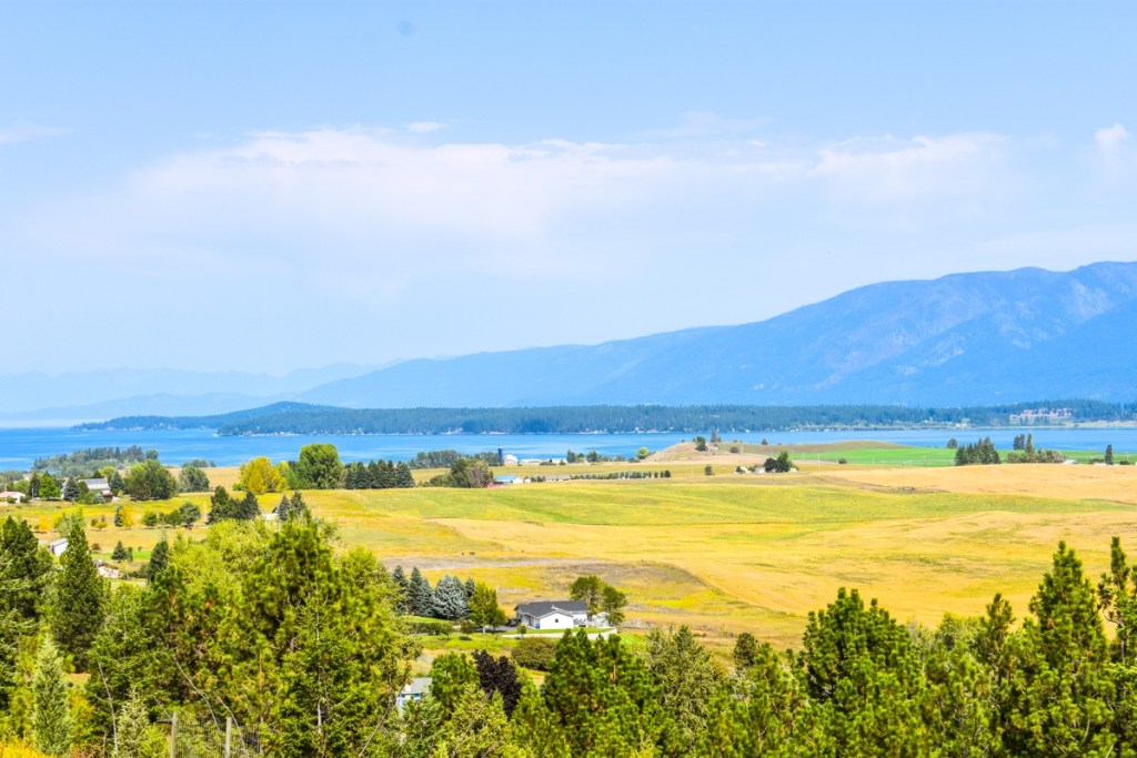 Southern scenic viewpoint shot of Flathead Lake