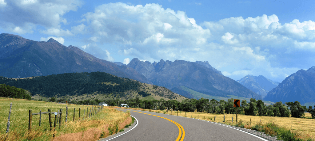 Highway going through Paradise Valley, Montana