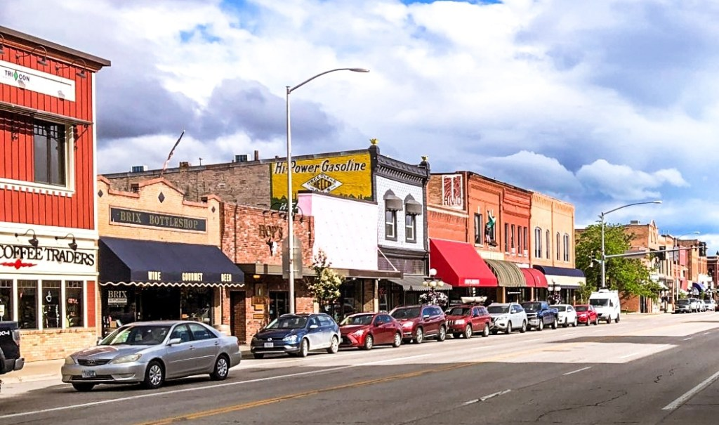 Historic buildings in downtown Kalispell, Montana along Main Street, one of the top things to see and do in Kalispell