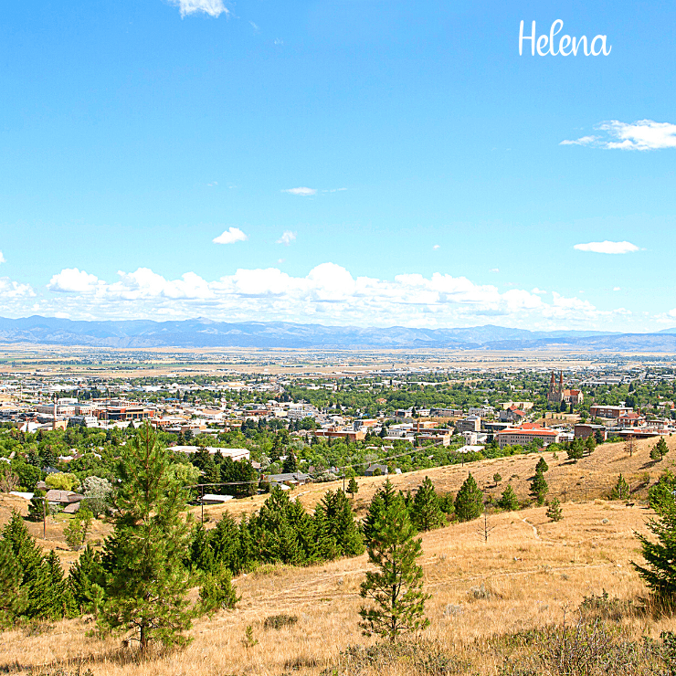 Landscape and mountains shot of the city skyline of Helena, Montana.