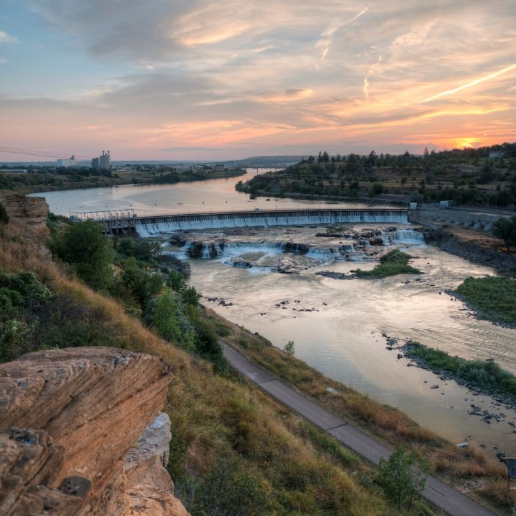 Black Eagle Dam and Falls at Sunset in Great Falls, Montana
