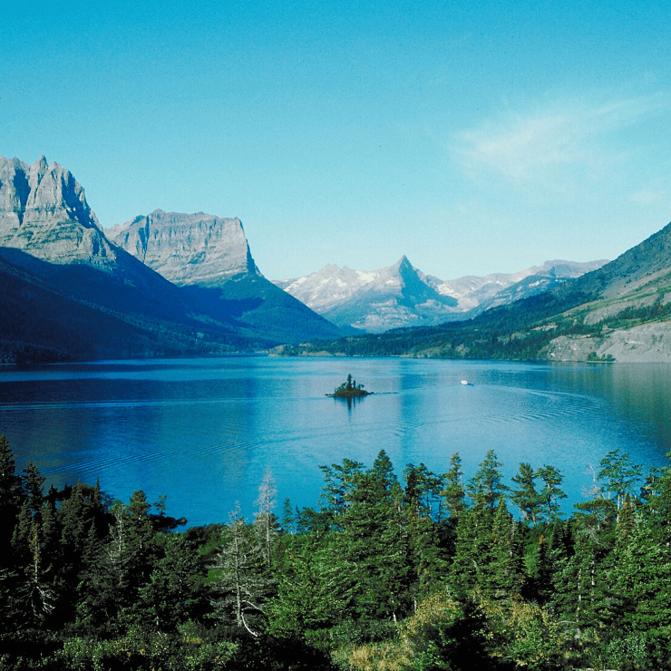 Beautiful St. Mary Lake in Glacier National Park.