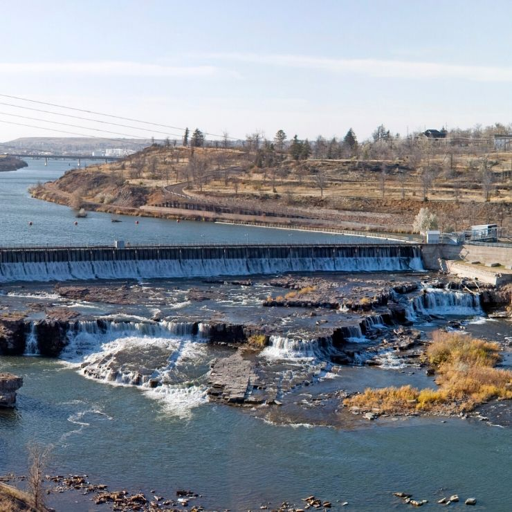 One of the five river falls and dams near Great Falls, Montana