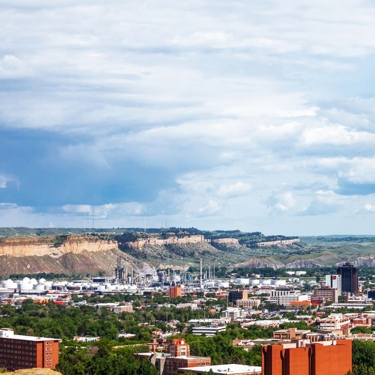 Rimrocks and bird's eye view of Billings in Montana.