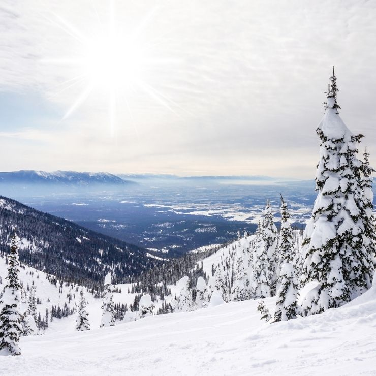 View of Whitefish, Montana from the mountaintop.