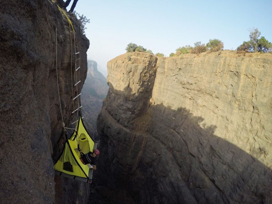 cliff camping in india