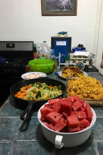 amazing dinner made for us by the house cook