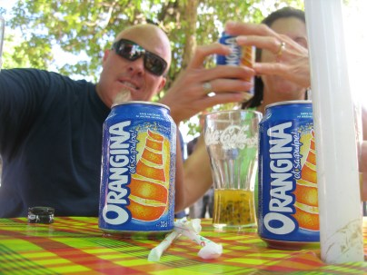 We like to get Orangina when we find it. It seems like the Fanta of French Caribbean islands!