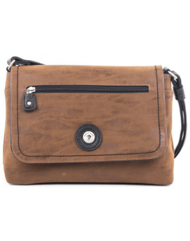 Mouflon Journey Flap Bag TFLP3045 Tan Black Front 1