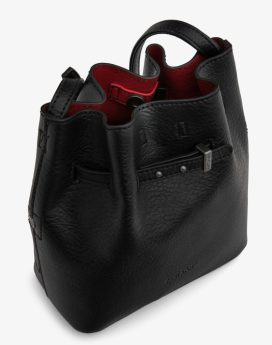Matt and Nat Lexi Bucket Bag Dwell Collection Black-Red Inside