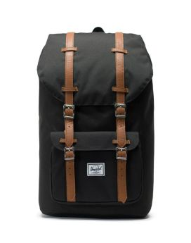 Herschel Supply Co Little America Backpack Black Tan Synthetic Leather Front