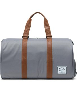 Herschel Supply Co Novel Duffle Grey Tan Synthetic Leather Front 1