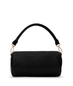 Matt and Nat Seoul Barrel Satchel Loom Collection Black Rose Gold Back