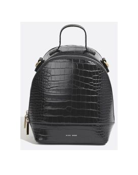 Pixie Mood Cora Small Backpack Black Croc Front 1