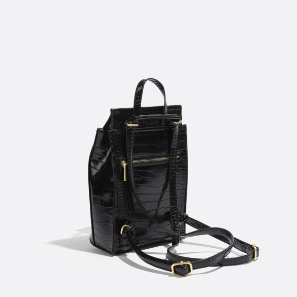Pixie Mood Kim Mini Backpack Black Croc Back Side