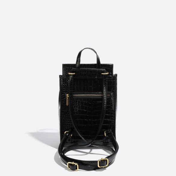 Pixie Mood Kim Mini Backpack Black Croc Back
