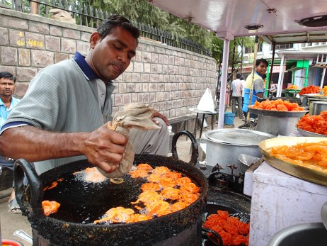 Jalebi. Deep fried pasty soaked in sugar water. They make my teeth hurt just looking at them.