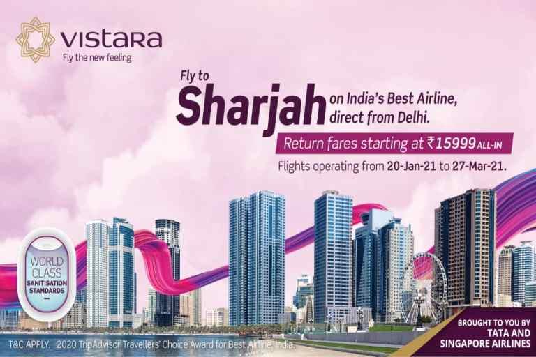 Vistara Daily Flights Delhi Sharjah