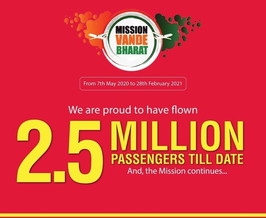 Air India group has flown over 2.5 Million passengers under Vande Bharat Mission