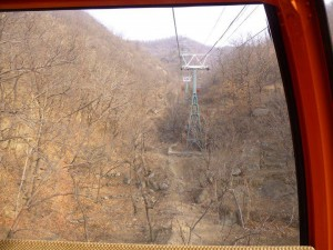 To save some time you can take a cable car up to the Great Wall rather than walking up the mountain. Since the Wall itself is a substantial hike once you're up there, I chose to save time and energy and took the cable car up