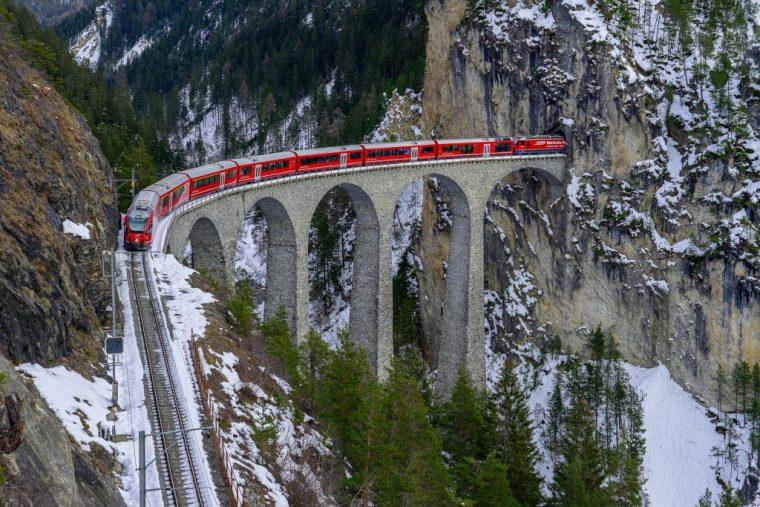 Scenic train ride Switzerland viaduct