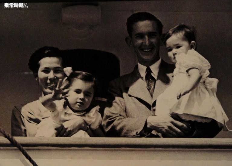 戰後局勢仍緊張,醫療兵Gordon Parker排除萬難游說政府,經過4年時間,成功爭取迎接日籍妻子到澳洲團圓,後者更成為首位進入澳洲的日籍新娘,為日後600多對夫婦開闢了團聚之路。(海事博物館展圖)
