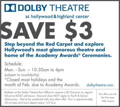 Dolby Theatre Coupon