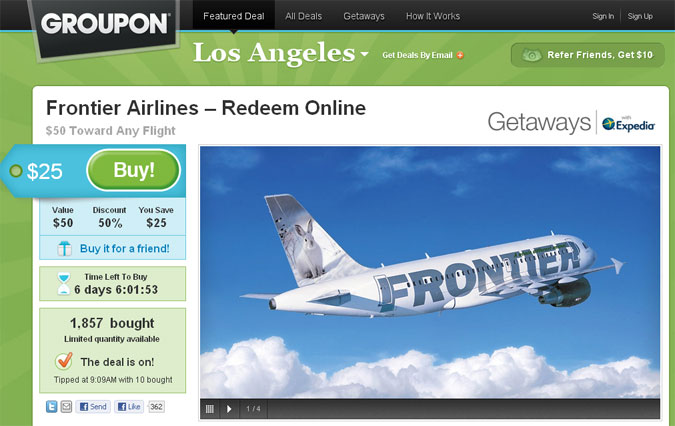 Groupon offer 50 credit for 25 on frontier airlines for Airline tickets buy now pay later