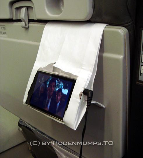 Air sickness bag used as media player