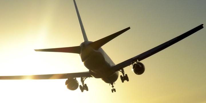 Airplane with sun