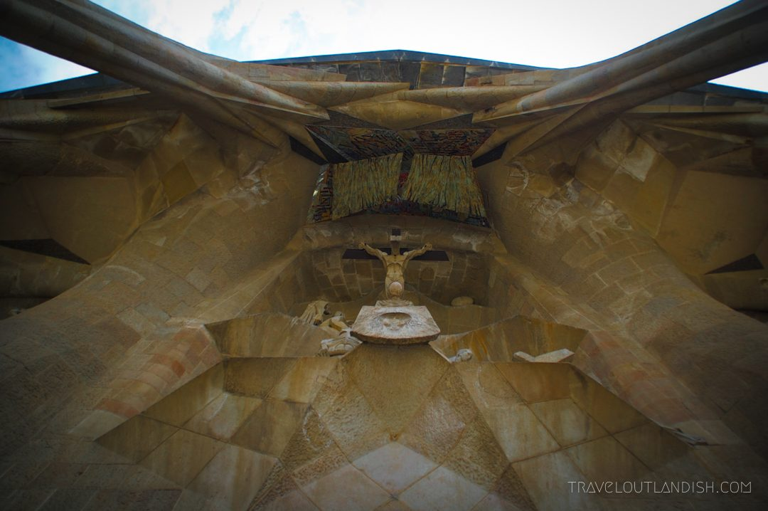 Looking up at Sagrada Familia