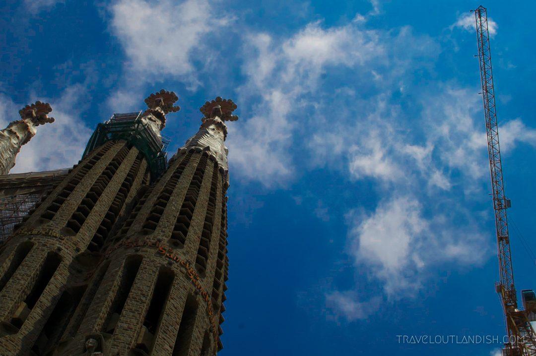 Looking up at La Sagrada Familia