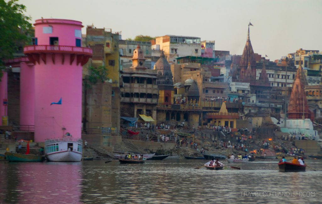 Varanasi burning ghats from afar