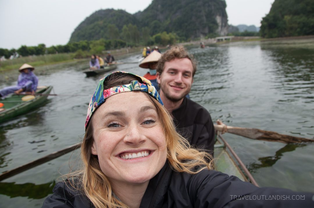 Daniel and Taylor on a boat ride in Ninh Binh